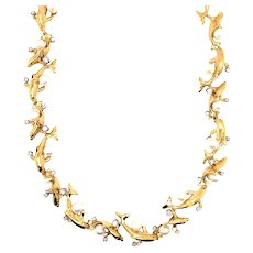 18K Yellow Gold Dolphin Diamond Necklace