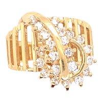 14K Yellow Gold Diamond Spin Ring