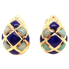 14K Yellow Gold Lapis and Opal Earring