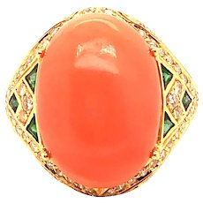 18k Yellow Gold Coral, Emerald and Diamond Ring