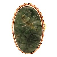 14K Yellow Gold Carved Nephrite Ring