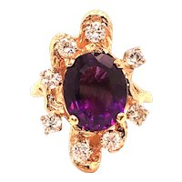 Victorian 14k Yellow Gold Amethyst and Diamond Ring
