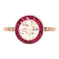 Platinum Diamond and Ruby Engagement Ring