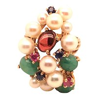 14K Yellow Gold Pearl, Emerald, Citrine, Sapphire and Ruby Ring