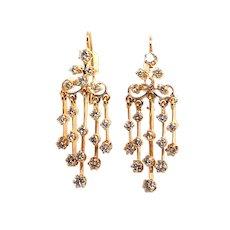 14k Yellow Gold Diamond Chandelier Earrings