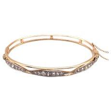 Platinum over Gold Edwardian Diamond Bangle Bracelet