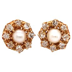 Antique Yellow Gold Pearl and Diamond Earring