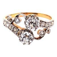Edwardian Platinum over Gold Diamond Ring