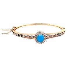 Antique 14k Yellow Gold Turquoise and Diamond Bangle Bracelet
