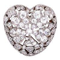 Edwardian Platinum Over Gold Diamond Heart Brooch/Pendant