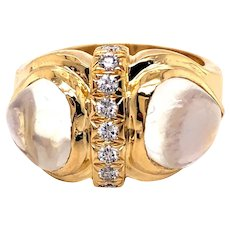18k Yellow Gold Moonstone Diamond Ring