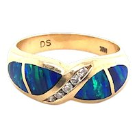 14k Yellow Gold Opal Diamond Ring
