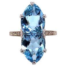 Edwardian 18K White Gold Aquamarine and Diamond Ring.