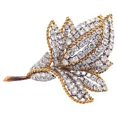 18k Yellow Gold Diamond Brooch.