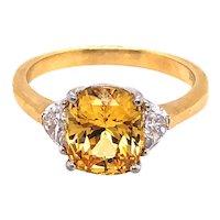 18K Yellow Gold and Platinum Yellow Sapphire and Diamond Ring.