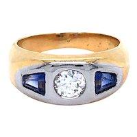 18K Yellow Gold Platinum Diamond and Sapphire Ring.