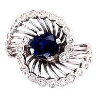 14K White Gold Sapphire and Diamond Ring.