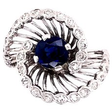 14K White Gold Sapphire and Diamond Ring.