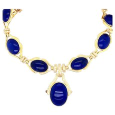 18K Yellow Gold Lapis Lazuli Diamond Necklace.