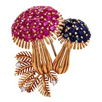 18K Yellow Gold Ruby, Sapphire and Diamond Brooch.