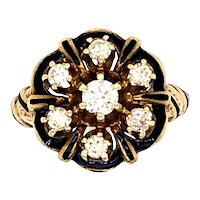 14K Yellow Gold Diamond Enamel Ring.