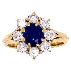 18K Yellow Gold Sapphire and Diamond Ring.