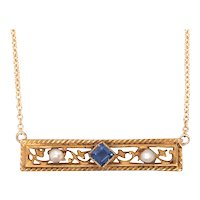 14K Yellow Gold Sapphire and Pearl Necklace.