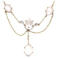 Edwardian 14K Yellow Gold and Platinum Moonstone Diamond Necklace.