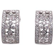 18K White Gold Diamond Earring.