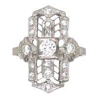 Art Deco 18k White Gold Diamond Ring.
