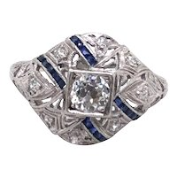 Art Deco Platinum Diamond and Sapphire Ring.