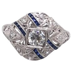 Art Deco Platinum Diamond and Sapphire Ring.