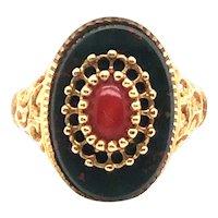18K Yellow Gold Bloodstone and Coral Ring.