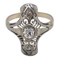 14K White Gold Art Deco Diamond Ring.