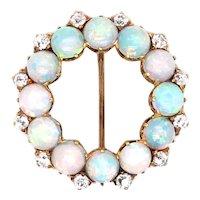 Antique 14k Yellow Gold Dainty Opal Diamond Circle Pin/Pendant