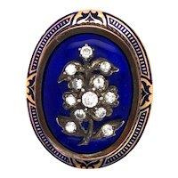 Antique Diamonds, Blue Enamel Locket.