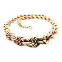 Retro 14K Yellow and Rose Gold Rope Necklace.