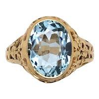 14K Yellow Gold Art Deco Aquamarine Ring.