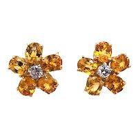 18K Yellow Gold, Yellow Sapphire and Diamond Earring.