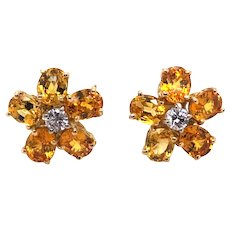 18K Yellow Gold, Yellow Sapphire and Diamond Earring.