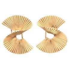 Tiffany & Co 14k Retro Ribbed Swirl Brooches.