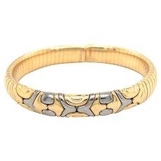 Bulgari 18k Yellow Gold and Steel Bangle Bracelet.