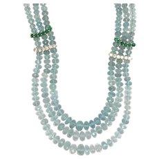14K Yellow Gold Aquamarine, Emerald and Diamond Necklace.