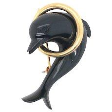 Tiffany & Co Dolphin Jade Brooch.