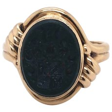 Antique 14K Yellow Gold Bloodstone Intaglio Ring.