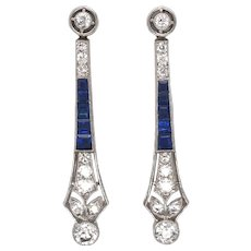 Platinum Art Deco Diamond and Sapphire Earring.