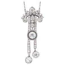 Platinum Diamond Belle Epoque Pendant.