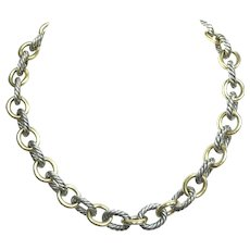 D. Yurman 18k Yellow Gold and Silver Necklace.