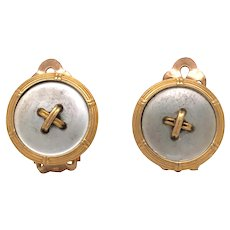 Antique 14K Yellow Gold Mobe Button Earrings.