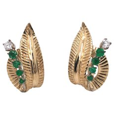 Retro 14k Yellow Gold Emerald and Diamond Earring.